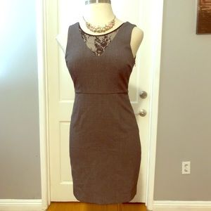 FOREVER 21 Gray Lace Stretching Sheath Dress
